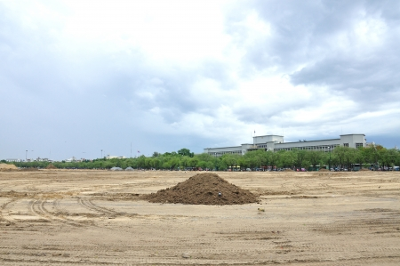 excavating: Preparation landscape for construction at Sanam Luang, During excavation soil, Bangkok, Thailand