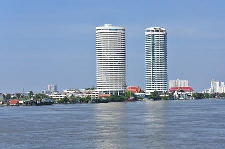 chao: Building near Chao Phaya river, Bangkok, Thailand Stock Photo