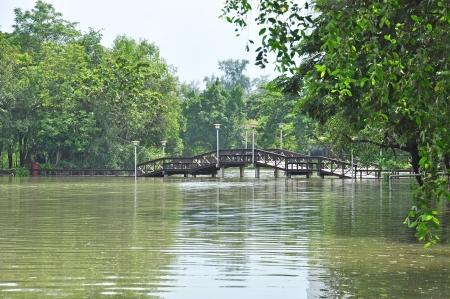 Wooden bridge at Silpakorn university, Nakhon pathom, Thailand Stock Photo - 15145839
