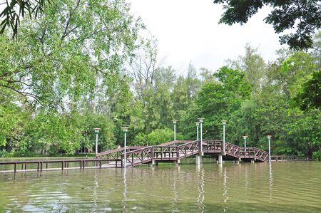Wooden bridge at Silpakorn university, Nakhon pathom, Thailand Stock Photo - 15145840