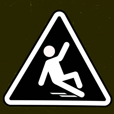 janitorial: Slippery wet floor sign Stock Photo