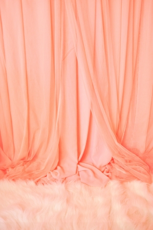 Pink Curtain and white fur carpet, Background for wedding