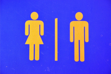 Toilet sign on leather Stock Photo - 15553635