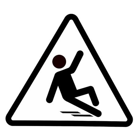 Slippery wet floor sign, wet floor warning symbol