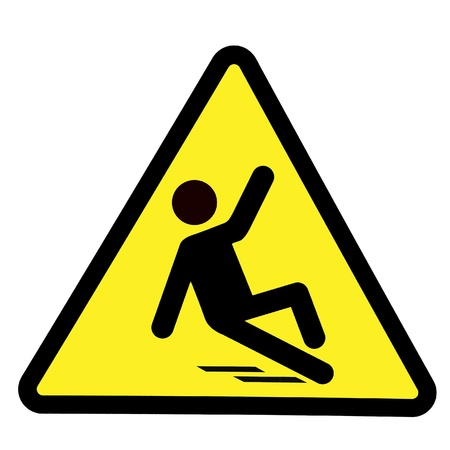 slips: Slippery wet floor sign, wet floor warning symbol