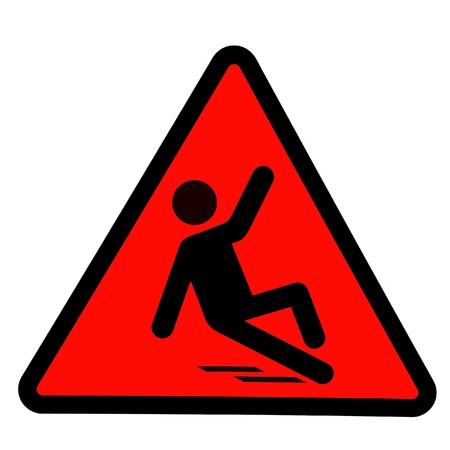 Slippery wet floor sign, wet floor warning symbol photo