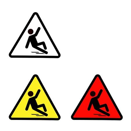 slippery sign: Set of slippery wet floor sign isolated on white, wet floor symbol