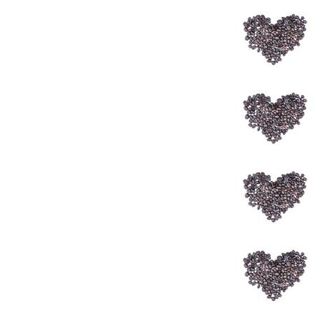 Heart made of coffee beans, I love coffee isolated on white for design