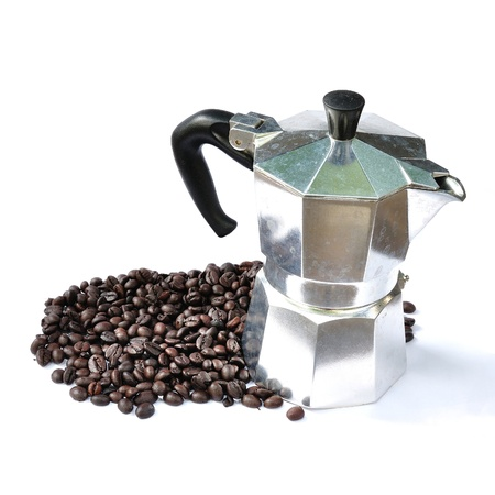 Moka pot with coffee bean isolated on white photo