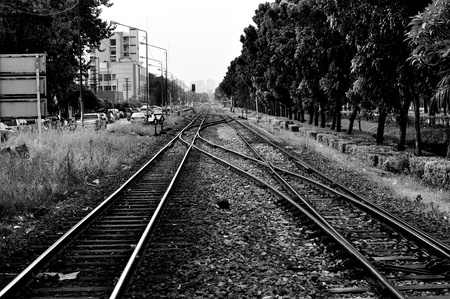 Railway in Bangkok, Thailand, Black and white photography photo
