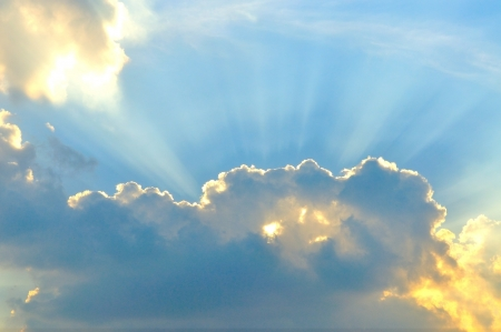 Beautiful cloudscape with sunray photo