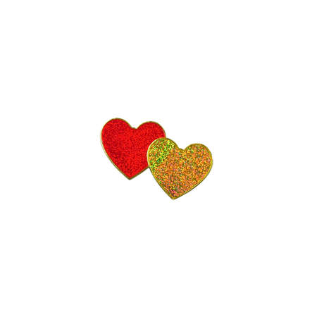 Pair of red and gold heart isolated on white photo