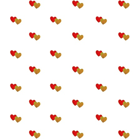 Pairs of red and gold heart isolated on white for wallpaper, Hearts background photo