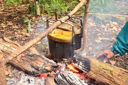 Cooking pot in campfire, Camping in forest Stock Photo - 22643992