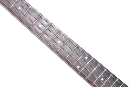 hardrock: Electric Bass guitar neck isolated on white background, Music concept Stock Photo