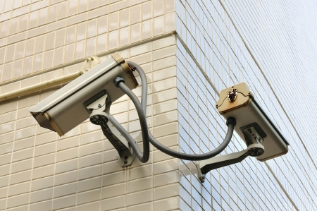 Two security Camera or CCTV on building wall