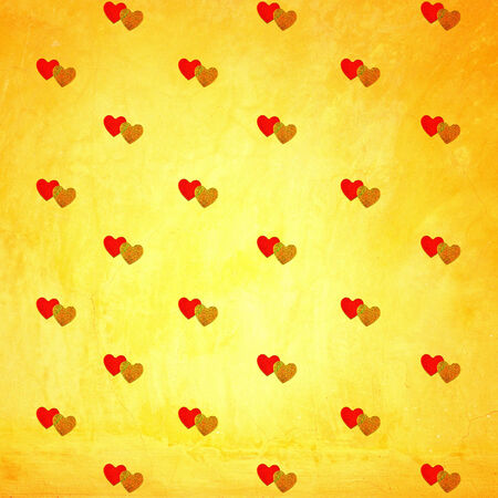 Pairs of red and gold heart on grunge wall, Hearts  photo