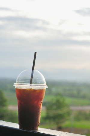 viewpoint: Ice black coffee with nature viewpoint, Ice americano, Travel concept