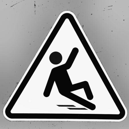 caution: Slippery wet floor sign in grunge black and white style
