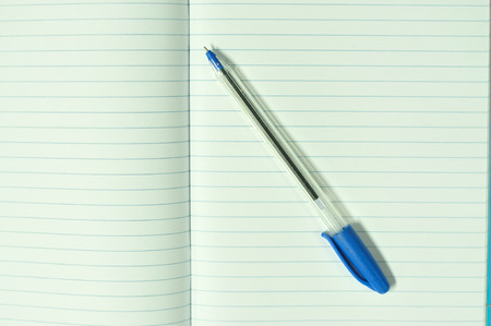 blue pen: Blank paper with blue pen Stock Photo