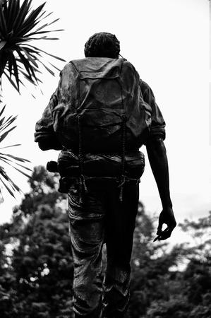 conservationist: HUAI KHA KHAENG, THAILAND - SEP 9 : Seub Nakhasathien statue monument at Huai Kha Khaeng wildlife sanctuary, he is the great conservationist of Thailand Royal Forest Department, on September 9, 2014