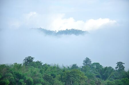 Misty mountain landscape, Thailand