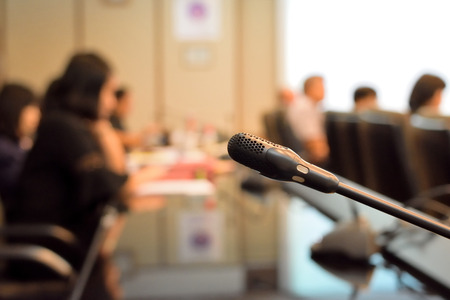Microphone in meeting room for a conference concept Stock Photo