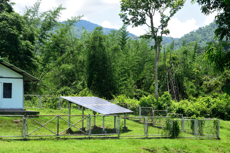 Solar cells panel in the countryside, Thailand