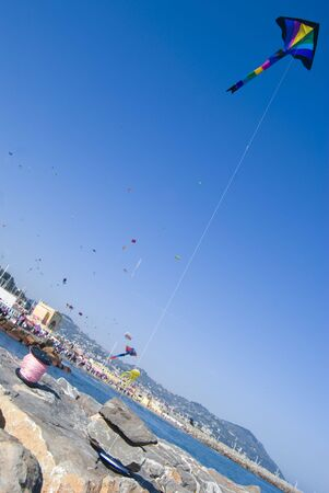 Imperia, Italy - April 10-11, 2010 - 11� Edition of the International Festival of the Kites. Stock Photo - 6897113