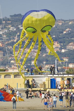 Imperia, Italy - April 10-11, 2010 - 11� Edition of the International Festival of the Kites. Stock Photo - 6897115