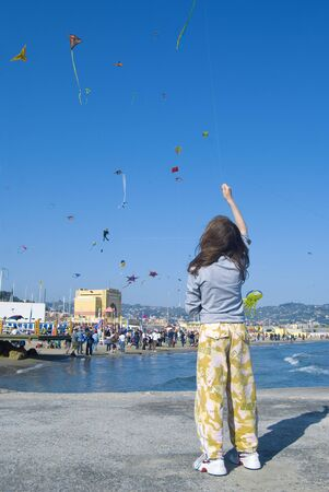 Imperia, Italy - April 10-11, 2010 - 11� Edition of the International Festival of the Kites. Stock Photo - 6897114