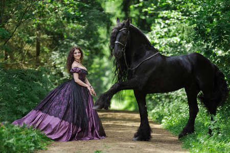 Young brunette girl in a vintage medieval purple dress with a big skirt posing with a black horse