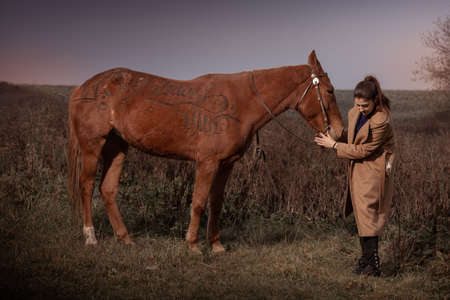 Young brunette woman in a beige coat posing with a red brown horse. Sunset sky and autumn nature. The inscription on the horse: have fun.
