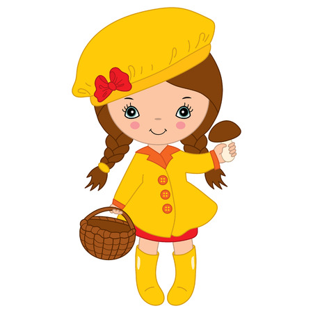 plaits: Little autumn girl in yellow coat with mushroom Illustration