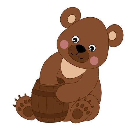 baby bear: Vector cartoon cute baby bear with honey Illustration