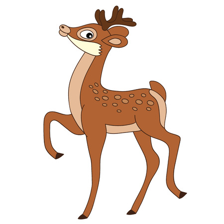 baby deer: Vector cartoon cute brown happy baby deer
