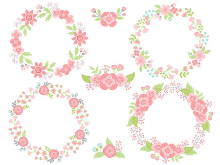 wreath set: Pastel vector pink and green wreath set Illustration