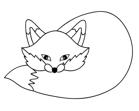 woodland: Black and white vector cute woodland fox