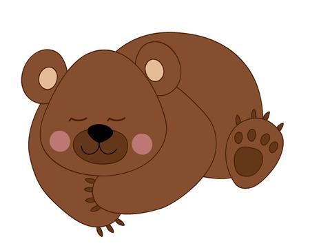 baby bear: Vector cartoon cute brown sleeping baby bear