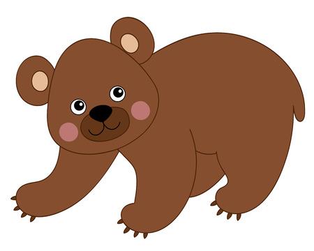 baby bear: Vector cartoon cute brown happy baby bear