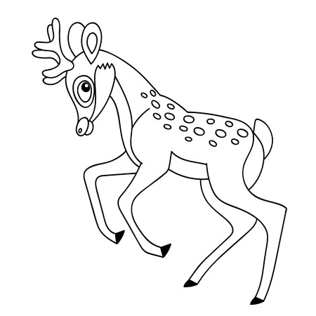 jungle jumping: Black and white vector cartoon baby deer