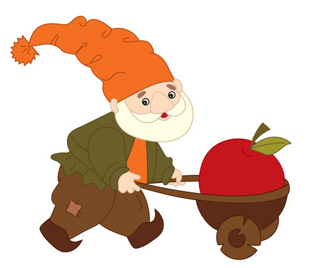 gaffer: Vector cute little cartoon colorful happy gnome