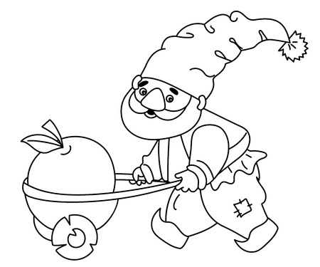 gaffer: Black and white vector cute cartoon gnome Illustration