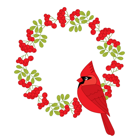 ashberry: Vector Christmas cardinal with red ashberry wreath