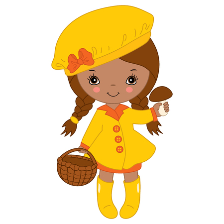 rain coat: Vector African American little autumn girl in yellow coat with mushroom