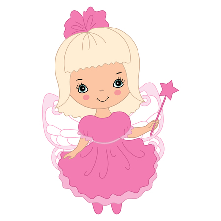 pink dress: Vector cute little fairy with magic wand in pink dress