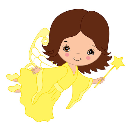 yellow dress: Vector cute flying little fairy with magic wand in yellow dress Illustration