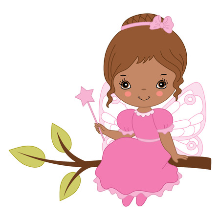 colection: Vector African American cute little fairy with magic wand in pink dress Illustration