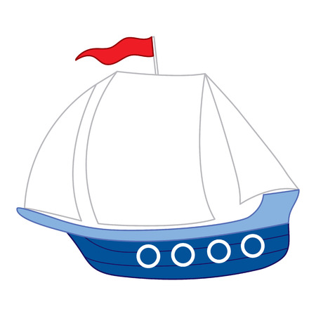 liner transportation: Vector cartoon boat with red flag and white sails Illustration
