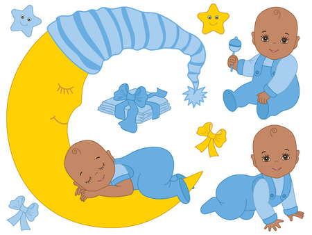 newborn baby: Vector African American baby boy set with rattle, bows, stars and the moon